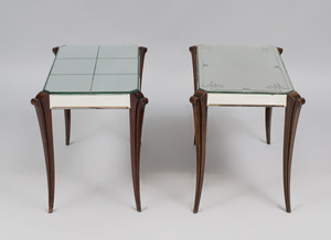 Two Similar French Ebonized and Mirrored Glass Low Tables