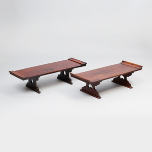 Two Japanese Elm Low Tables