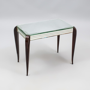 French Ebonized and Mirrored Glass Low Table