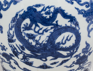 Large Chinese Blue and White Porcelain Teapot and Cover