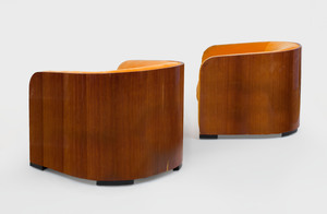 Pair of Karl Springer Mahogany Club Chairs, c. 1975