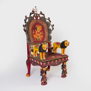 Indian Painted Throne Chair Decorated with Ganesh