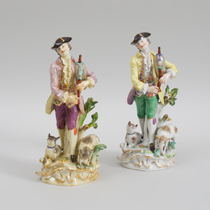 Two Meissen Porcelain Figures of Highland Pipers