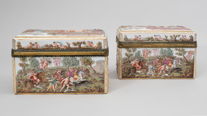 Pair of Meissen Gilt-Metal Mounted Porcelain Boxes with Classical Scenes in Relief