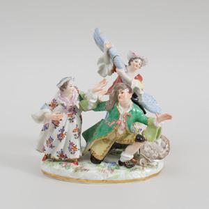 Meissen Porcelain Figure Group of a Domestic Trouble