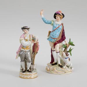 Meissen Porcelain Figure of a Gardener and a Figure of a Hunter