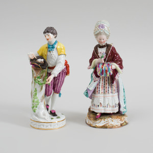 Two Meissen Porcelain Figures of a Girl with Muff Reading and a Man in a Yellow Coat