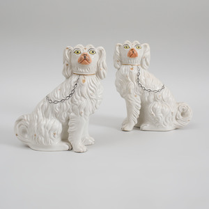 Pair of Staffordshire Figures of Seated Spaniels