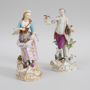Two Meissen Porcelain Figures of a Gardener and Companion