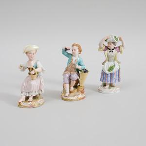 Three Meissen Porcelain Figures of Children Harvesting