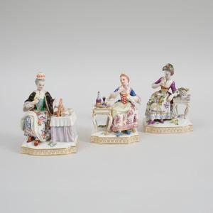 Three Meissen Porcelain Figures Emblematic of the Senses