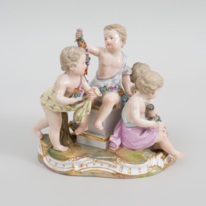 Meissen Porcelain Putti Group Emblematic of Spring