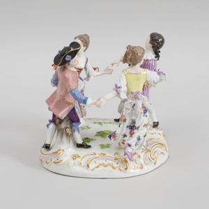 Meissen Porcelain Figural Group of Two Couples Dancing