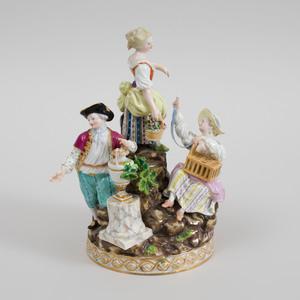 Meissen Porcelain Figure Group of Three Garden Children