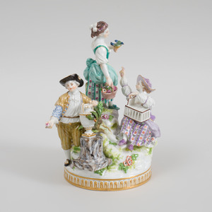 Meissen Porcelain Figure Group of  Suitor with Two Companions