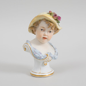 Meissen Porcelain Bust of a Child in a Yellow Hat