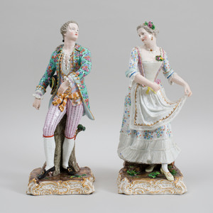 Pair of Large Meissen Porcelain Figures of a Gallant and Companion