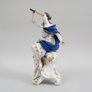 Large Meissen Porcelain Figure Emblematic of Astronomy