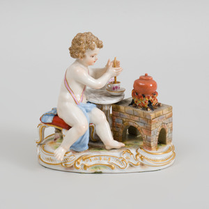 Meissen Porcelain Putti Emblematic of Fire