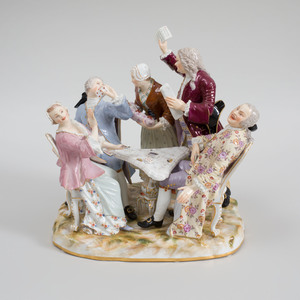 Meissen Porcelain Satirical Group of Card Players