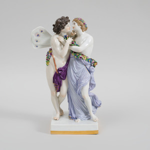 Meissen Porcelain Figure Group of Zephyr and Flora