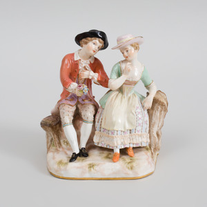 Meissen Porcelain Figure Group of a Courting Couple