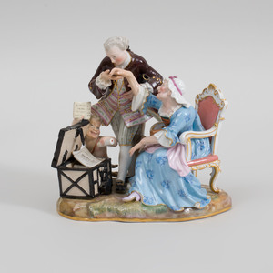Meissen Porcelain Satirical Group With Child Satyr The Embezzler