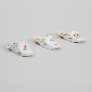 Three Meissen Porcelain Models of Slippers