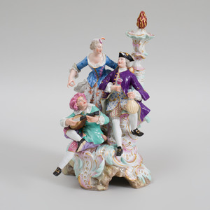 Meissen Porcelain Figure Group of a Courting Couple with a Musician