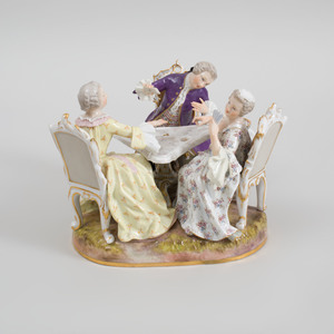 Meissen Porcelain Figure Group Three Card Players