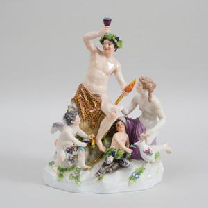 Meissen Porcelain Figure Group of Bacchus and Attendants