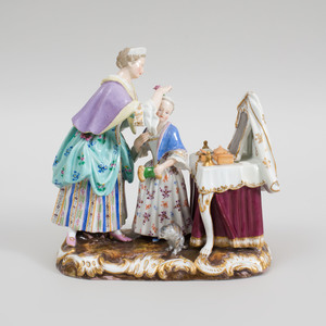 Meissen Porcelain Figure Group of a Mother and Child