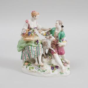 Meissen Porcelain Figure Group of a Shepherd and Shepherdess