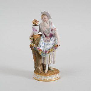 Meissen Porcelain Figure with Flower Garland