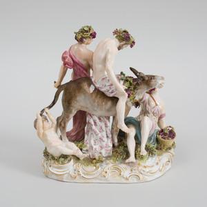 Meissen Porcelain Figure Group of The Drunken Silenus
