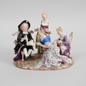 Meissen Porcelain Figure Group of Ladies Reading to Cupid Disguised as a Pastor