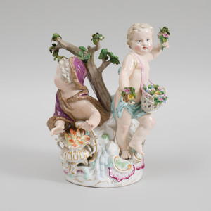 Meissen Porcelain Putti Group Emblematic of Winter and Spring