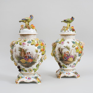 Pair of Dresden Porcelain Vases and Covers on Stands with Bird Finials