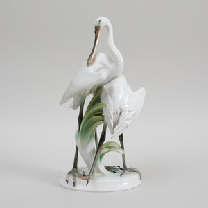 Herend Porcelain Group of Two Spoonbills