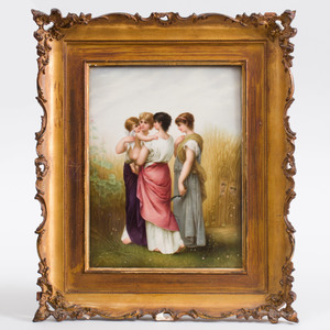 KPM Porcelain Plaque Decorated with Summer Harvest Scene