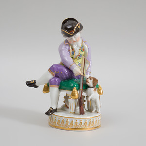 Meissen Porcelain Figure of a Hunter with a Hound
