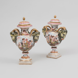 Pair of Capodimonte Vases and Covers with Ram's Head Handles