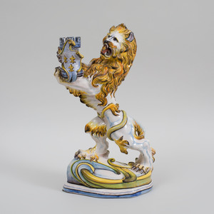 Emile Gallé Faience Lion Form Candlestick