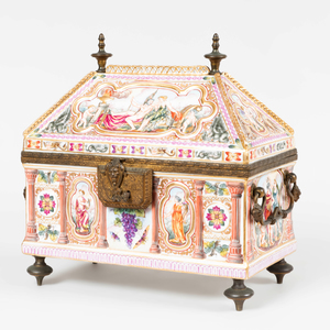 Large Capodimonte Gilt-Metal-Mounted Porcelain Coffer