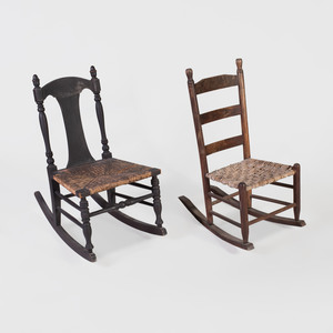 Painted Wood Rocking Chair and an Oak Rocking Chair