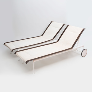 Pair of Richard Schultz Painted Metal and Nylon Chaise Lounges, for Knoll