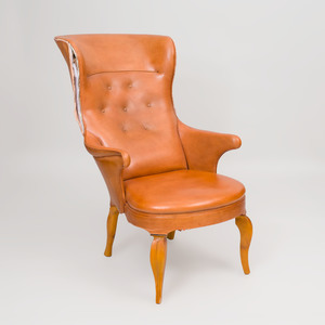 Frits Henningsen Style Fruitwood and Leather High-Back Armchair