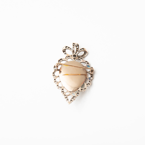 Russian Gold, Silver, Diamond, Guilloché Enamel and Split Pearl Brooch