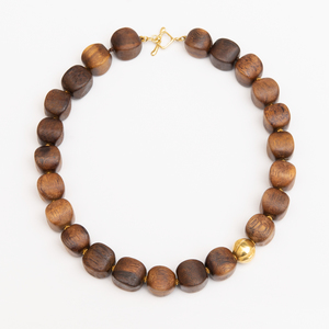 18k Gold and Wood Bead Necklace