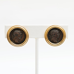 Pair of 18k Gold and Coin Earclips